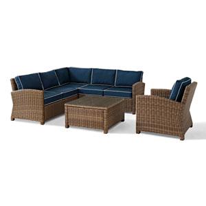 Bradenton 5-Piece Outdoor Wicker Seating Set with Navy Cushions - Right Corner Loveseat, Left Corner Loveseat, Corner Chair,