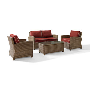 Bradenton 4 Piece Outdoor Wicker Seating Set with Sangria Cushions