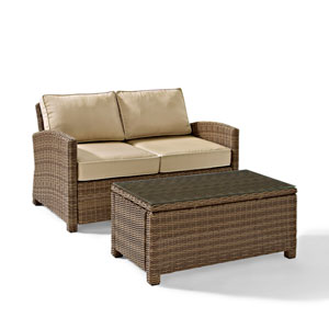 Bradenton 2 Piece Outdoor Wicker Seating Set with Sand Cushions