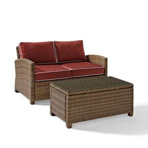 Bradenton 2 Piece Outdoor Wicker Seating Set with Sangria Cushions