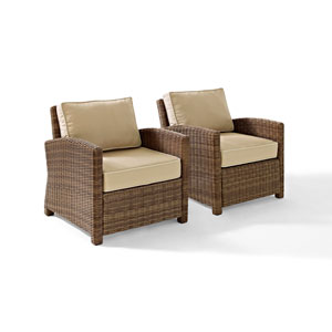 Bradenton 2 Piece Outdoor Wicker Seating Set with Sand Cushions - Two Arm Chairs