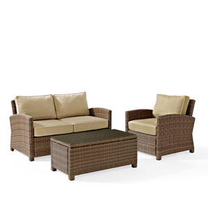 Bradenton 3 Piece Outdoor Wicker Seating Set with Sand Cushions