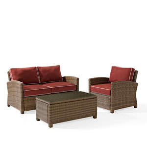 Bradenton 3 Piece Outdoor Wicker Seating Set with Sangria Cushions