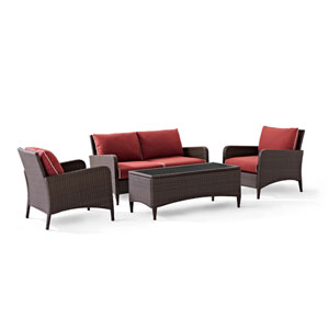 Kiawah 4 Piece Outdoor Wicker Seating Set with Sangria Cushions
