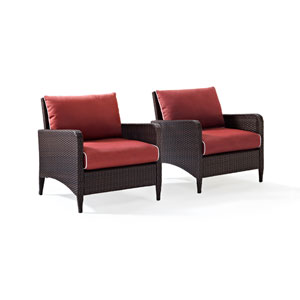 Kiawah 2 Piece Outdoor Wicker Seating Set with Sangria Cushions -  Two Arm Chairs
