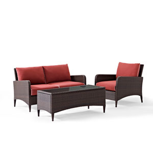 Kiawah 3 Piece Outdoor Wicker Seating Set with Sangria Cushions