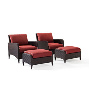 Kiawah 4 Piece Outdoor Wicker Seating Set with Sangria Cushions -  Two Arm Chairs with Two Ottomans