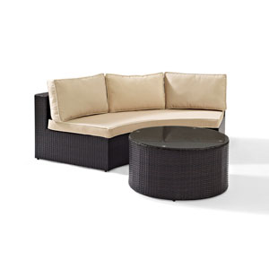 Catalina 2 Piece Outdoor Wicker Seating Set with Sand Cushions - Round Sectional Sofa with Round Glass Top Coffee Table