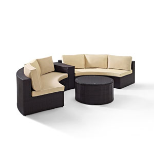 Catalina 4 Piece Outdoor Wicker Seating Set with Sand Cushions - Two Round Sectional Sofas, Arm Table, and Round Glass Top