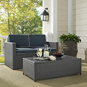 Palm Harbor 2 Piece Outdoor Wicker Seating Set in Grey Wicker With Navy Cushions: Loveseat And Coffee Table