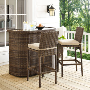 Bradenton Sand 3 Piece Outdoor Wicker Bar Set with Cushions