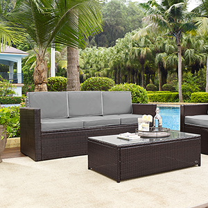 Palm Harbor Outdoor Wicker Sofa in Brown With Grey Cushions