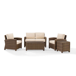 Bradenton Sand 5-Piece Outdoor Wicker Conversation Set with Cushions