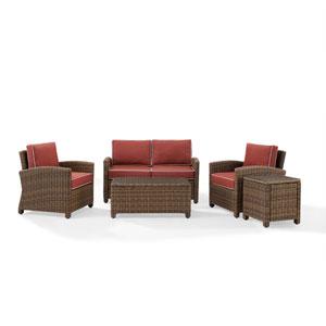 Bradenton Sangria 5-Piece Outdoor Wicker Conversation Set with Cushions