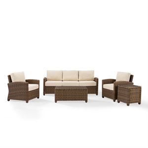 Bradenton Sand 5-Piece Outdoor Wicker Sofa Conversation Set with Cushions with Cushions