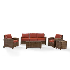 Bradenton Sangria 5-Piece Outdoor Wicker Sofa Conversation Set with Cushions with Cushions