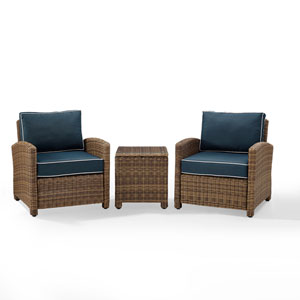 Bradenton Navy 3-Piece Outdoor Wicker Conversation Set with Cushions
