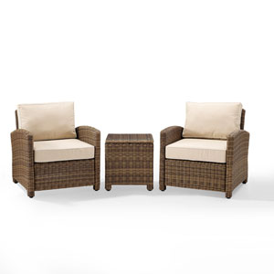 Bradenton Sand 3-Piece Outdoor Wicker Conversation Set with Cushions