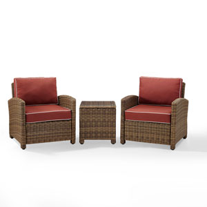 Bradenton Sangria 3-Piece Outdoor Wicker Conversation Set with Cushions