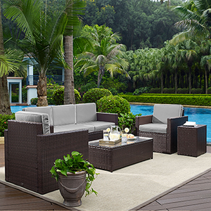 Palm Harbor 5-Piece Outdoor Wicker Sofa Conversation Set With Grey Cushions - Sofa, Two Arm Chairs, Side Table and Glass Top