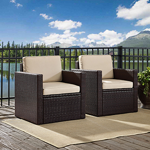Palm Harbor 3-Piece Outdoor Wicker Conversation Set With Sand Cushions - Two Arm Chairs and Side Table