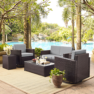Palm Harbor 5-Piece Outdoor Wicker Conversation Set With Grey Cushions - Loveseat, Two Swivel Chairs, Side Table and Glass