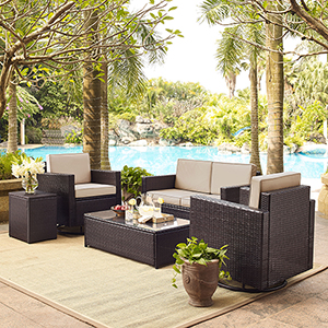 Palm Harbor 5-Piece Outdoor Wicker Conversation Set With Sand Cushions - Loveseat, Two Swivel Chairs, Side Table and Glass