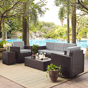 Palm Harbor 5-Piece Outdoor Wicker Sofa Conversation Set With Grey Cushions - Sofa, Two Swivel Chairs, Side Table and Glass