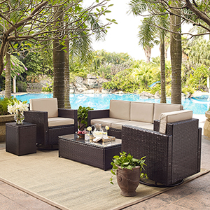 Palm Harbor 5-Piece Outdoor Wicker Sofa Conversation Set With Sand Cushions - Sofa, Two Swivel Chairs, Side Table and Glass