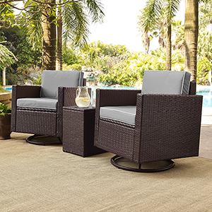Palm Harbor 3-Piece Outdoor Wicker Conversation Set With Grey Cushions -- Two Swivel Chairs and Side Table