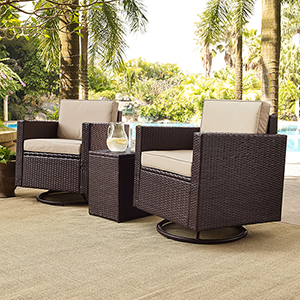Palm Harbor 3-Piece Outdoor Wicker Conversation Set With Sand Cushions -- Two Swivel Chairs and Side Table