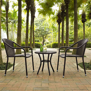 Palm Harbor Brown 3 Piece Outdoor Wicker Café Seating Set