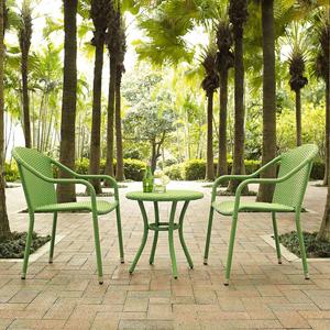 Palm Harbor Green 3 Piece Outdoor Wicker Café Seating Set
