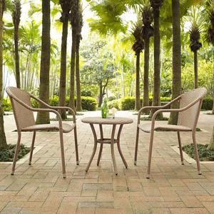 Palm Harbor Light Brown 3 Piece Outdoor Wicker Café Seating Set