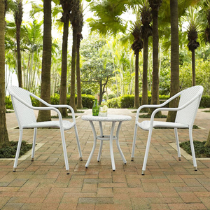 Palm Harbor White 3 Piece Outdoor Wicker Café Seating Set