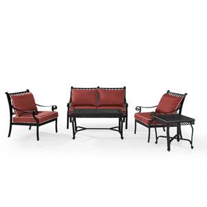 Portofino Black Cast Aluminum 5 Piece Conversation Set with Cushions
