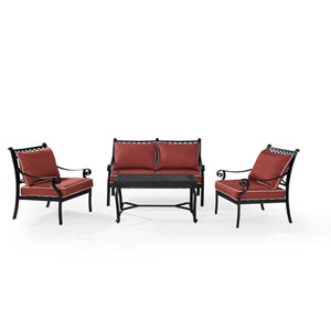 Portofino Black Cast Aluminum 4 Piece Conversation Set with Cushions