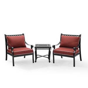 Palermo Black Cast Aluminum 3 Piece Conversation Set with Cushions