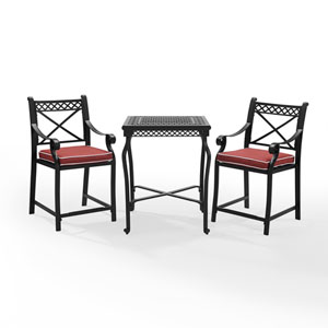 Portofino Black Cast Aluminum 3 Piece Bar Height Bistro Set with Cushions with Cushions