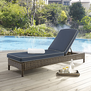 Bradenton Chaise Lounge With Navy Cushions