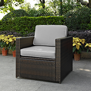 Palm Harbor Outdoor Wicker Arm Chair in Brown With Grey Cushions