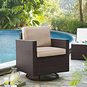 Palm Harbor Outdoor Wicker Swivel Rocker Chair With Sand Cushions