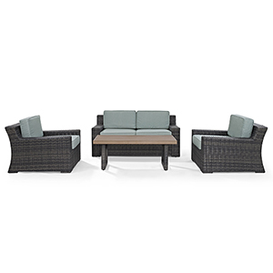Beaufort 4 Piece Outdoor Wicker Seating Set With Mist Cushion - Loveseat, Two Chairs, Coffee Table
