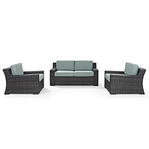 Beaufort 3 Piece Outdoor Wicker Seating Set With Mist Cushion - Loveseat, Two Outdoor Chairs
