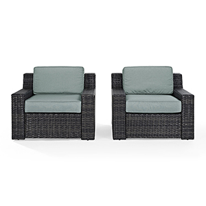 Beaufort 2 Piece Outdoor Wicker Seating Set With Mist Cushion -  Two Outdoor Wicker Chairs