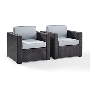 Biscayne 2 Person Outdoor Wicker Seating Set in Mist - Two Outdoor Wicker Chairs