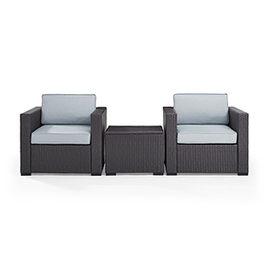 Biscayne 2 Person Outdoor Wicker Seating Set in Mist - Two Outdoor Wicker Chairs and Coffee Table