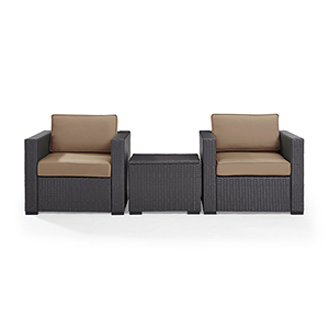 Biscayne 2 Person Outdoor Wicker Seating Set in Mocha - Two Outdoor Wicker Chairs and Coffee Table