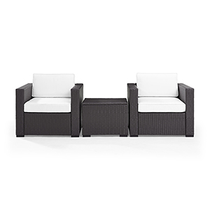 Biscayne 2 Person Outdoor Wicker Seating Set in White - Two Outdoor Wicker Chairs and Coffee Table