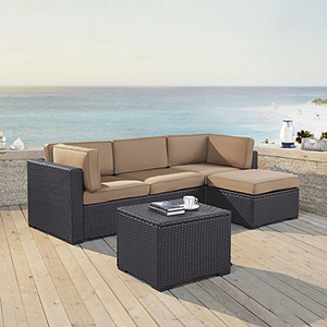 Biscayne 4 Person Outdoor Wicker Seating Set in Mocha - One Loveseat, One Corner Chair, Ottoman, Coffee Table